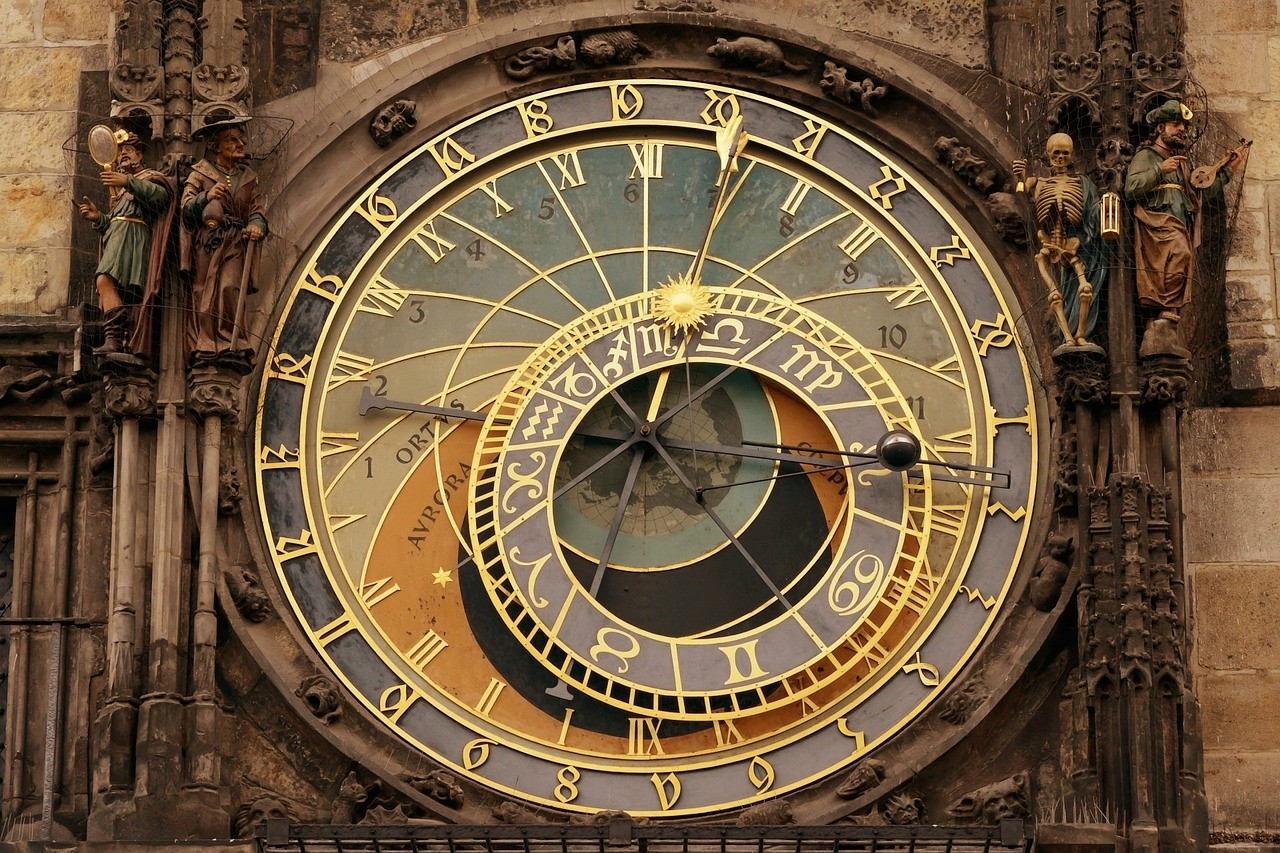 Astronomical clock Old town square Prague Czech republic Bohemia
